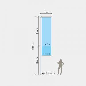 Mastro M2, Altura 6m, Diam. 8cm, 2 partes
