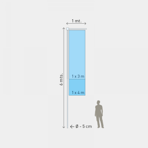 Mastro M4, Altura 6m, Diam. 5cm, 1 parte